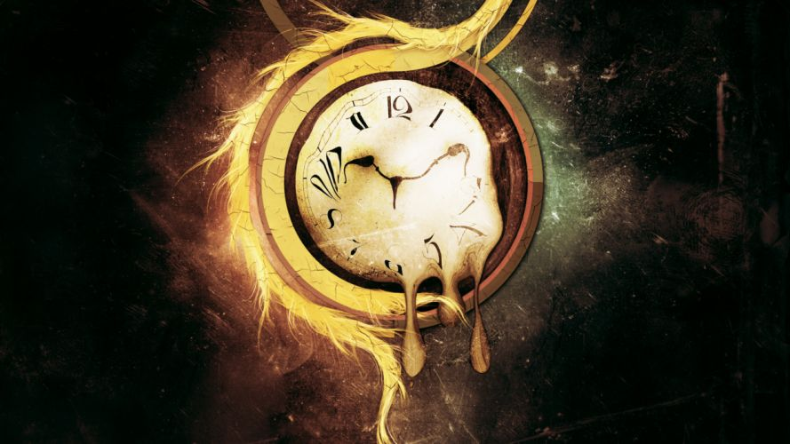 Abstract artistic clocks surrealism surreal psychedelic time wallpaper