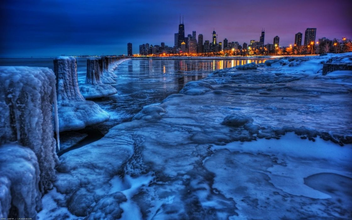 Water ice cityscapes chicago wallpaper