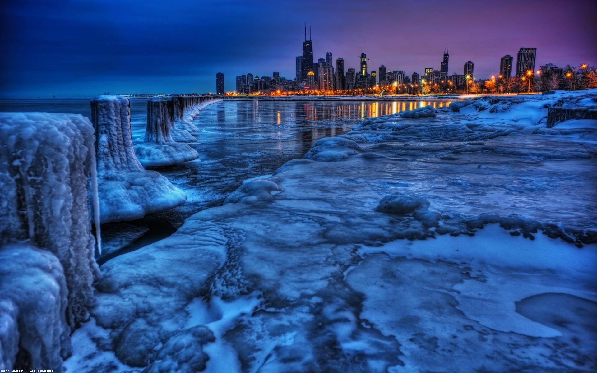 Chicago Ice Water Ice Cityscapes Chicago