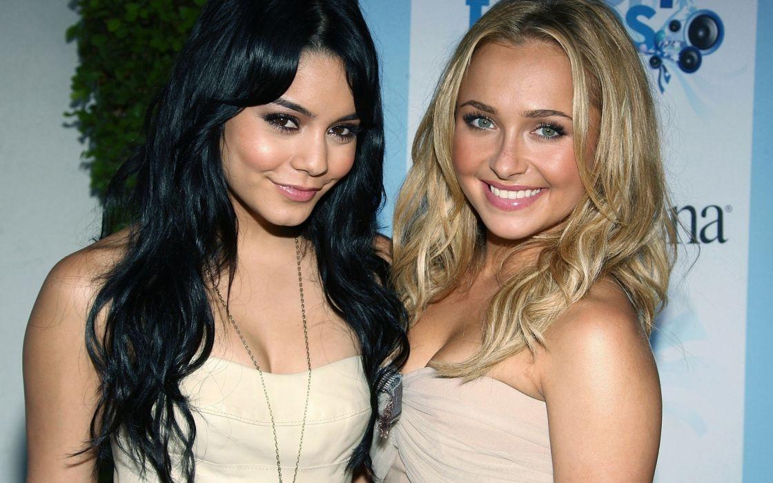 Brunettes blondes women actress hayden panettiere cleavage people celebrity vanessa hudgens singers wallpaper