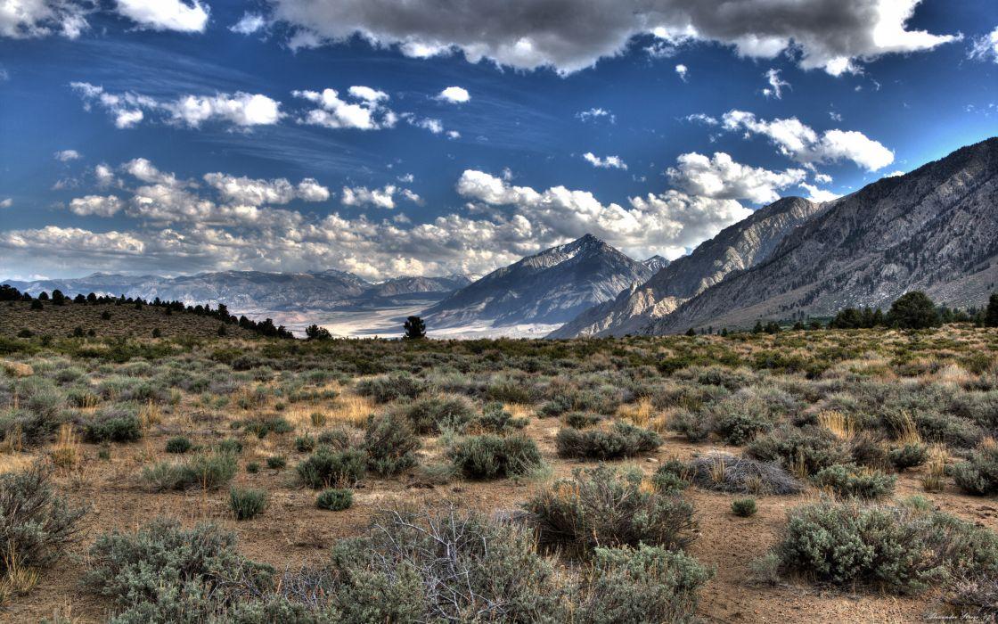 Mountains clouds landscapes nature desert wallpaper