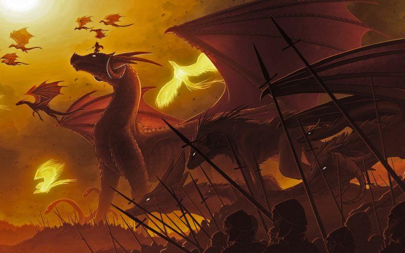 Dragons phoenix fantasy art wallpaper