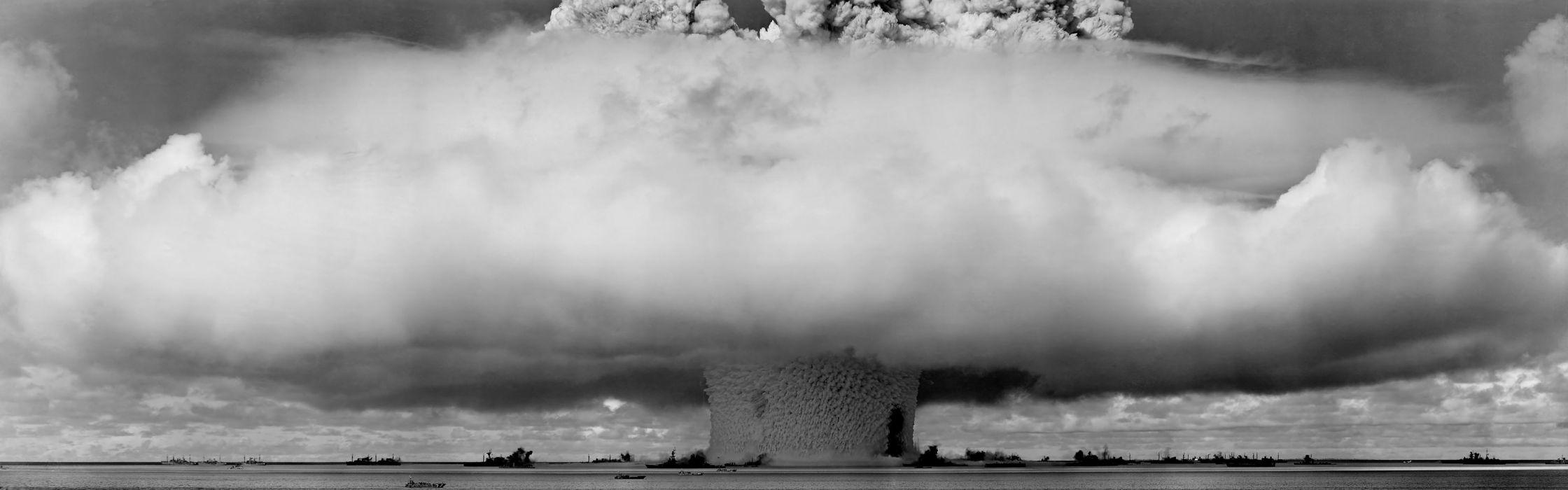 Explosions mushrooms grayscale monochrome nuclear explosions wallpaper