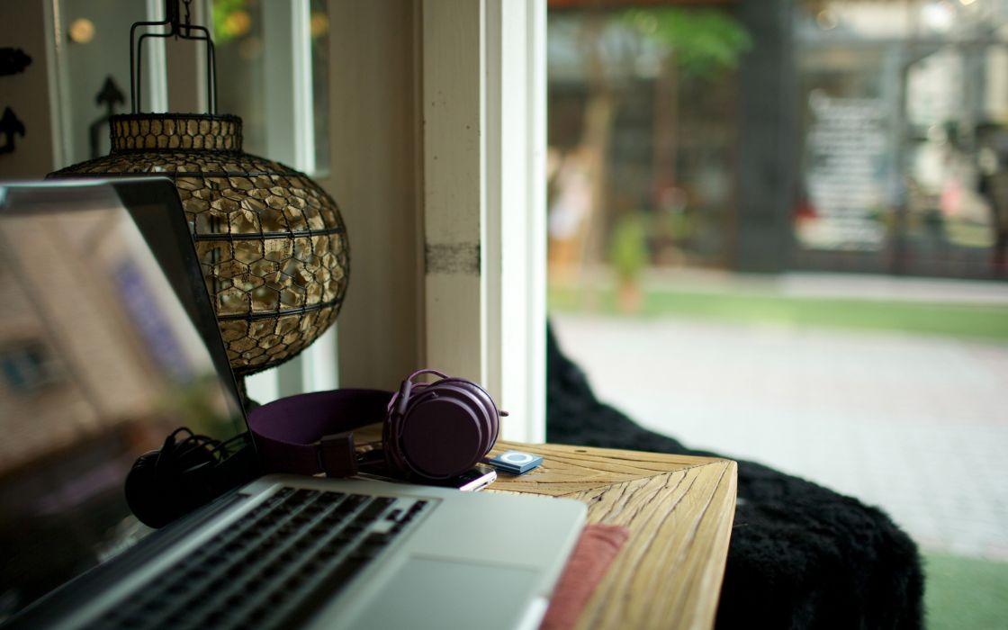 Headphones garden laptops living room wallpaper