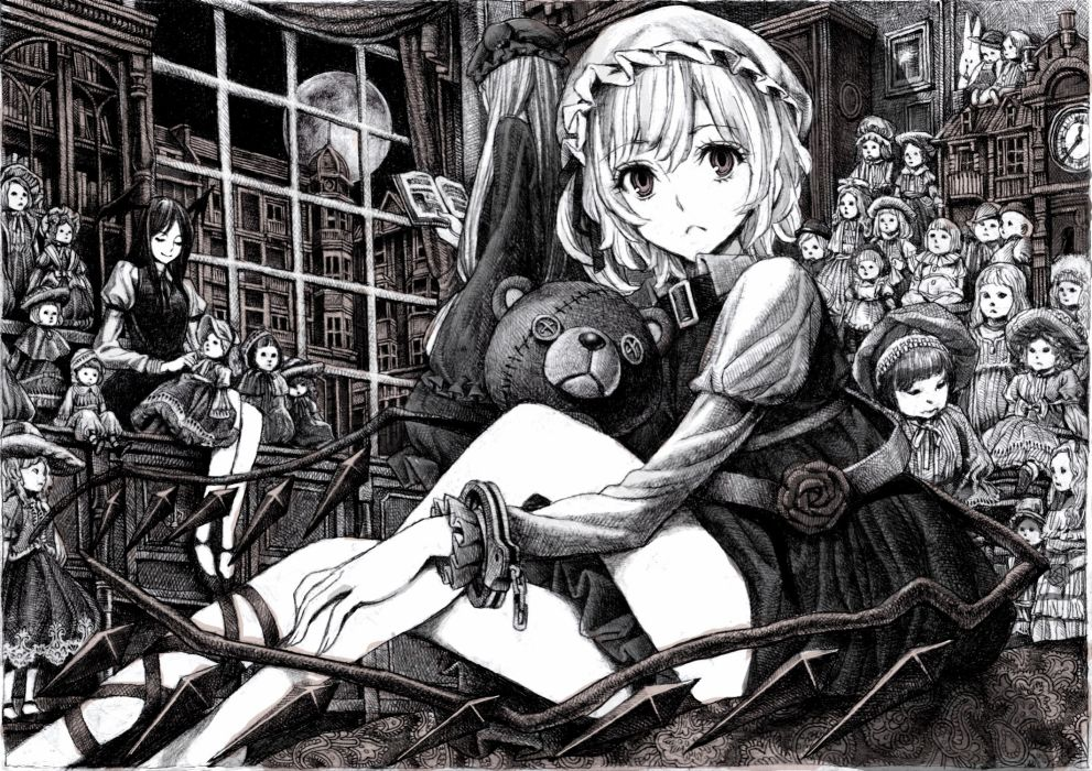 Brunettes touhou wings night room moon short hair monochrome sitting drawings mansion dolls teddy bears devil girl flandre scarlet koakuma patchouli knowledge hats anime girls wallpaper