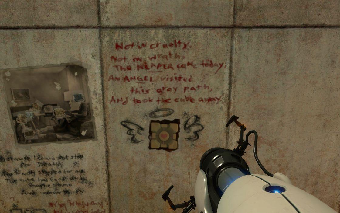 Portal reaper graffiti companion cube parody wallpaper