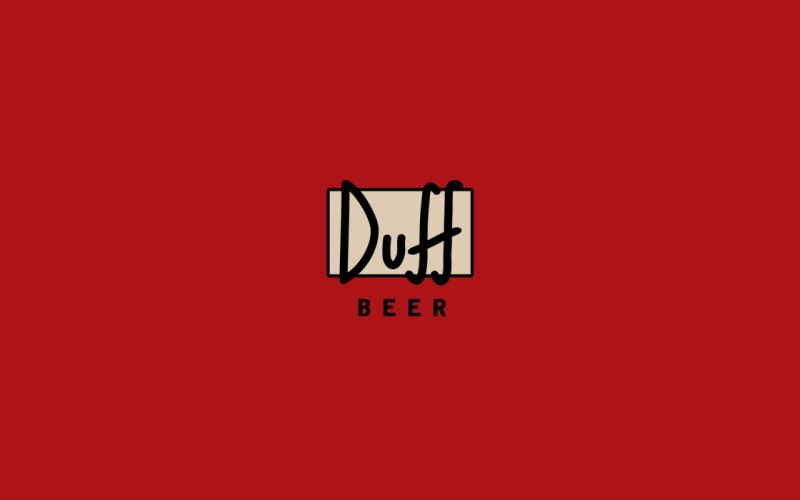 Minimalistic red the simpsons duff beer wallpaper