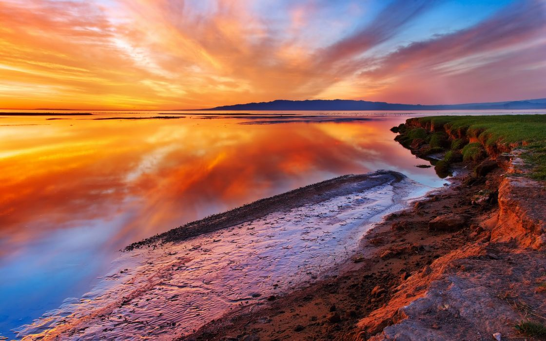 Sunset landscapes nature reflections wallpaper