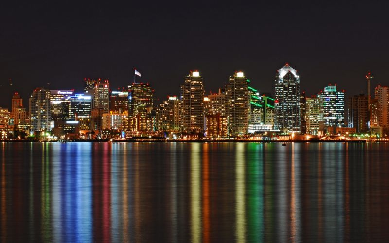 Water cityscapes skyline architecture buildings san diego nightlights reflections wallpaper