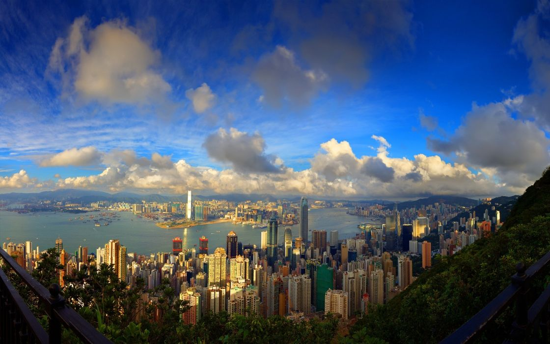 Clouds cityscapes buildings downtown panorama cities wallpaper
