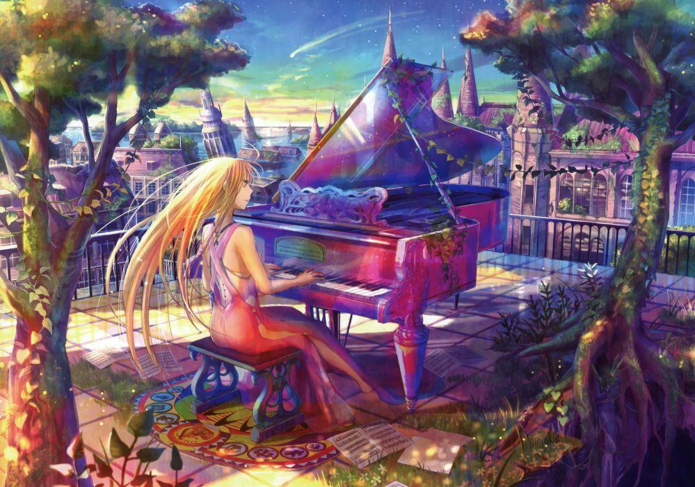 Piano multicolor anime fuji choko wallpaper