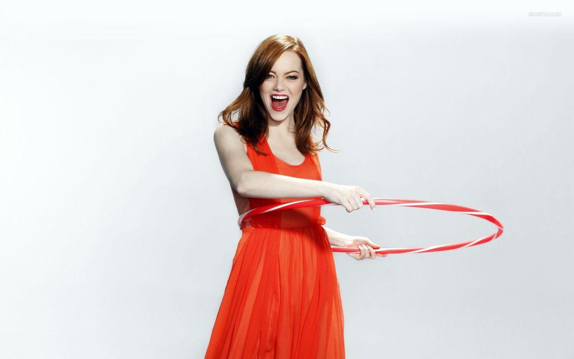 Women actress redheads emma stone hula hoops wallpaper