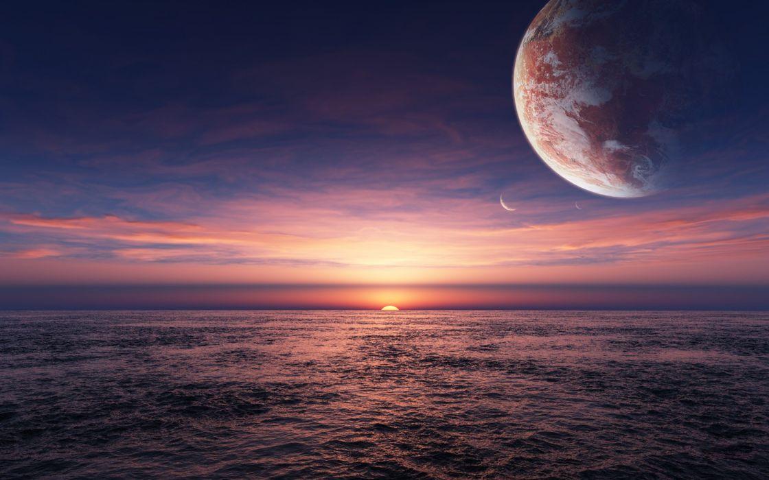 Water ocean sun sea planets alien landscapes wallpaper