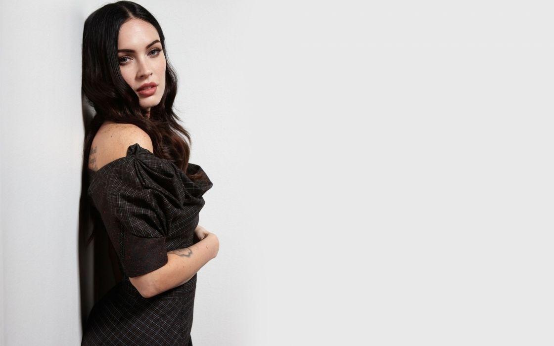 Megan fox black dress white background wallpaper