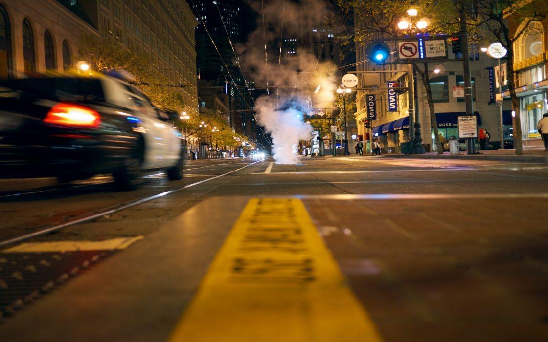 Night police roads motion blur wallpaper