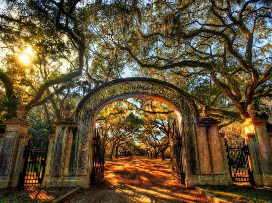 Nature fences path gate arch hdr photography wallpaper