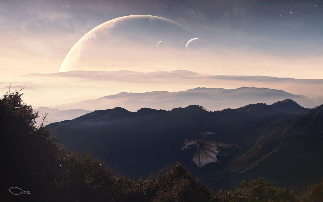 Landscapes dragons planets moon fantasy art artwork drawings wallpaper