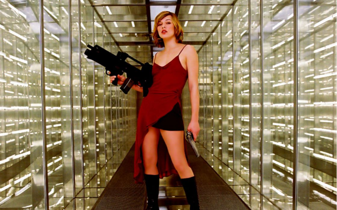 Actress resident evil girls with guns heckler and koch milla jovovich wallpaper