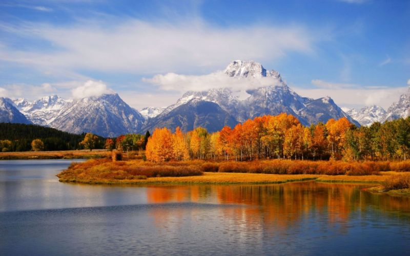 Mountains clouds landscapes nature trees lakes skyscapes wallpaper