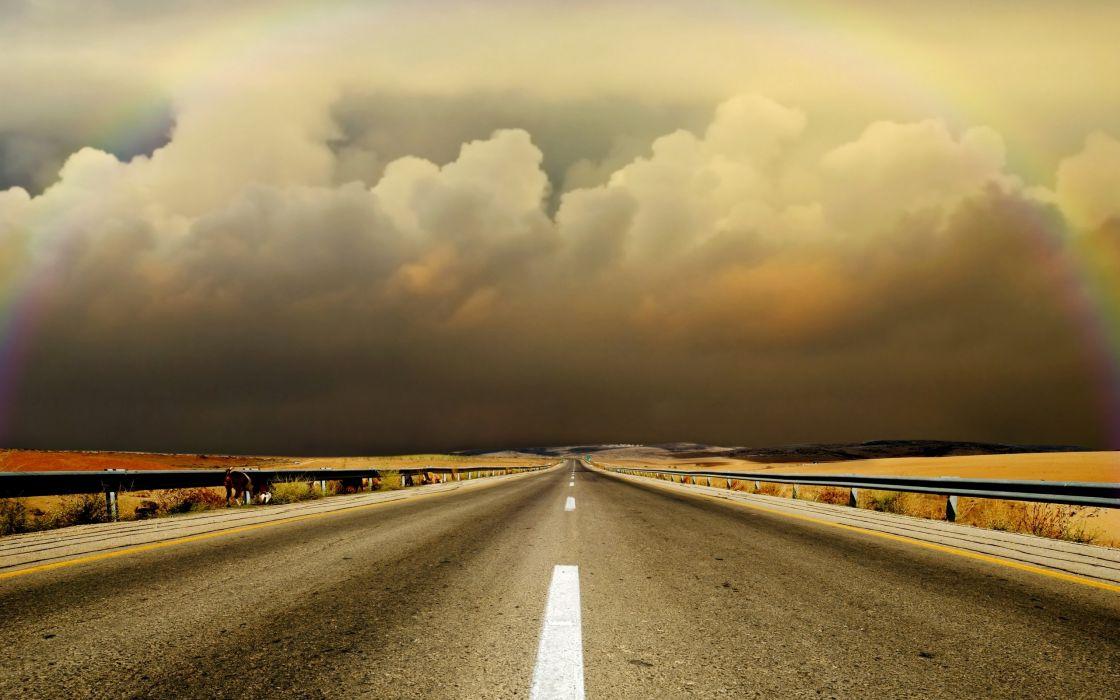 Clouds landscapes highway roads wallpaper