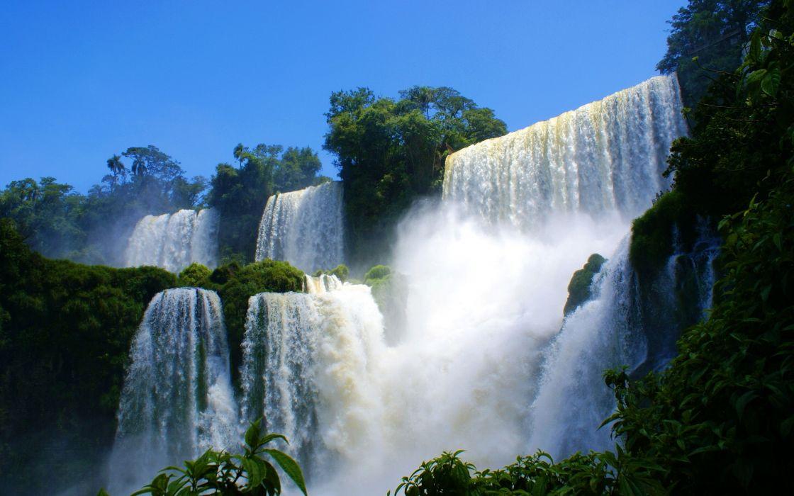 Landscapes nature waterfalls blue skies wallpaper