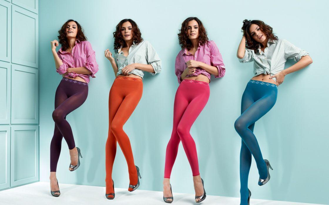 Brunettes women leggings pantyhose wallpaper