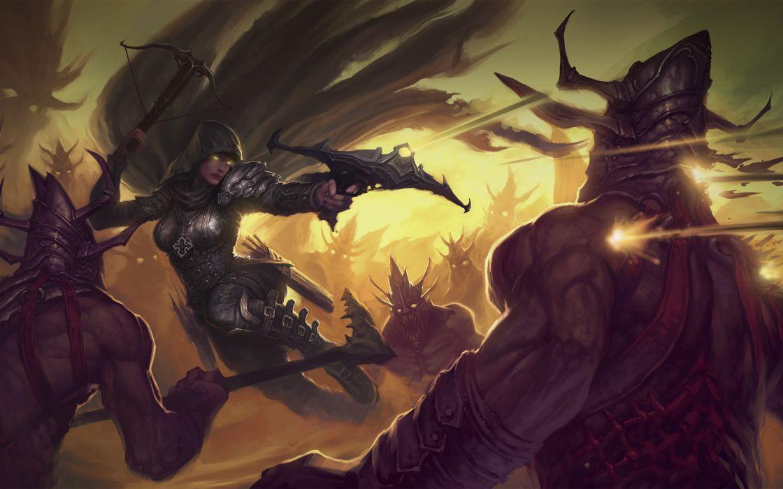 Fantasy demon hunter artwork diablo iii crossbows wallpaper