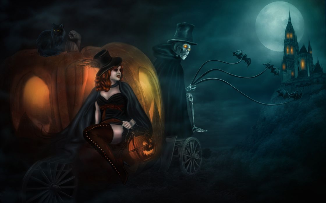 Castles halloween skeletons witches wallpaper