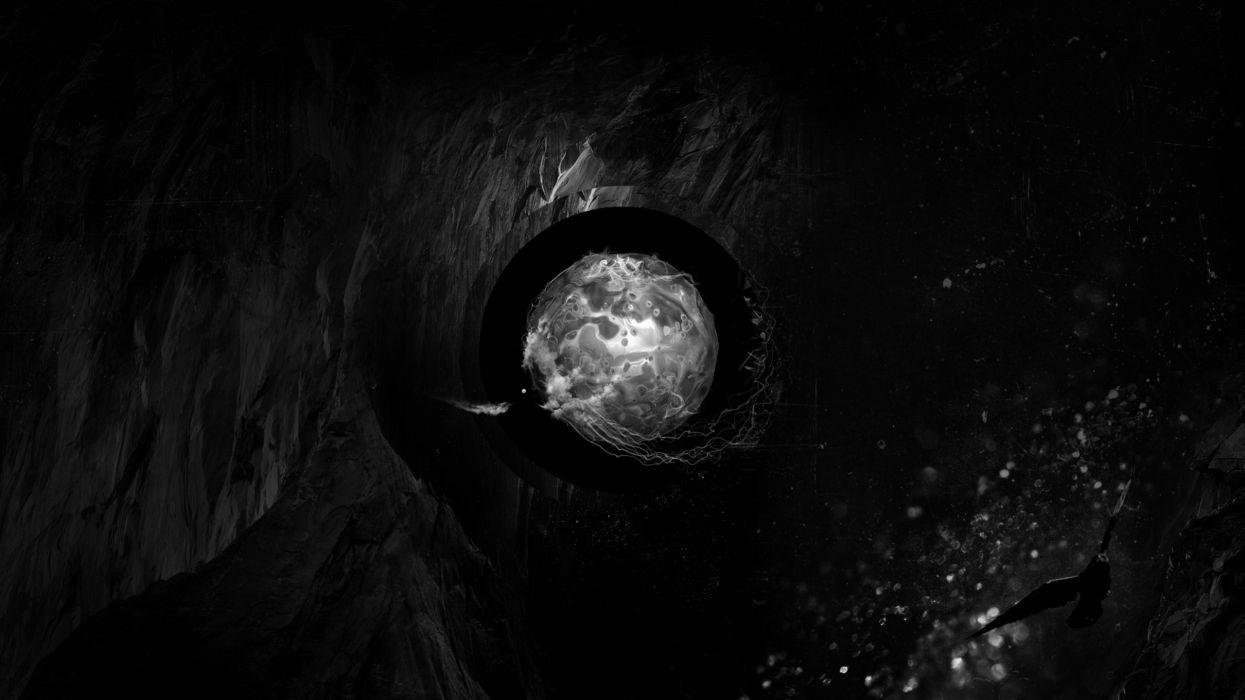 Abstract eyes black dark liquid water drops spheres orb wallpaper