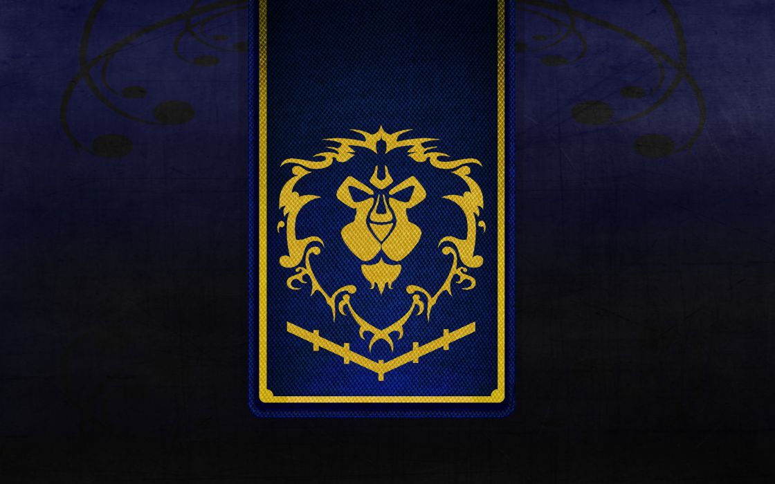 Black world of warcraft gold textures lions alliance crests wallpaper