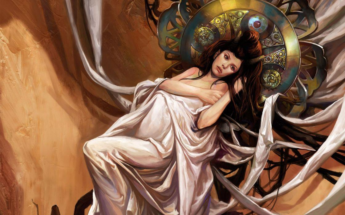 Women horns fantasy art artwork wallpaper