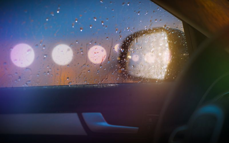 Water drops steering wheel side car mirror car windows wallpaper