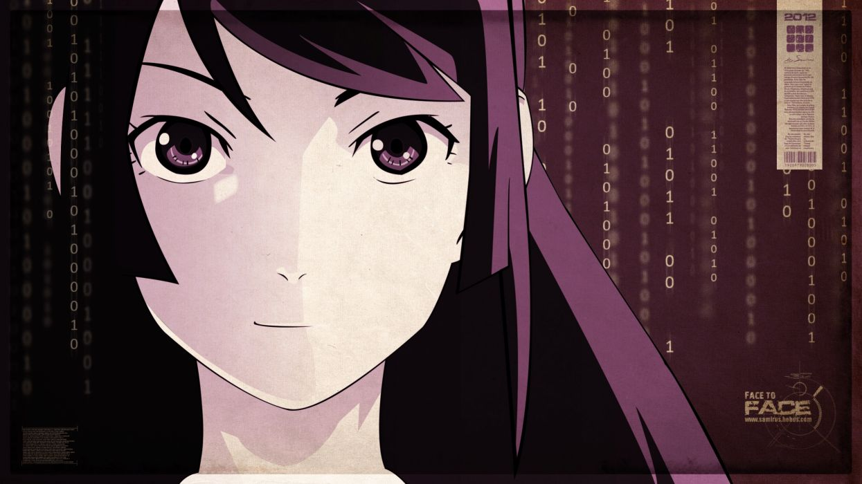 Purple long hair bakemonogatari binary numbers purple hair senjougahara hitagi purple eyes anime girls faces hime cut wallpaper