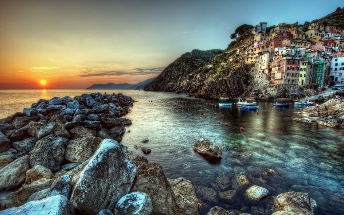 Sunset sea hdr photography wallpaper