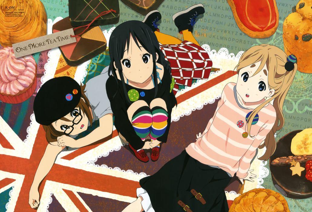 On! hirasawa yui union jack akiyama mio kotobuki tsumugi meganekko anime girls wallpaper