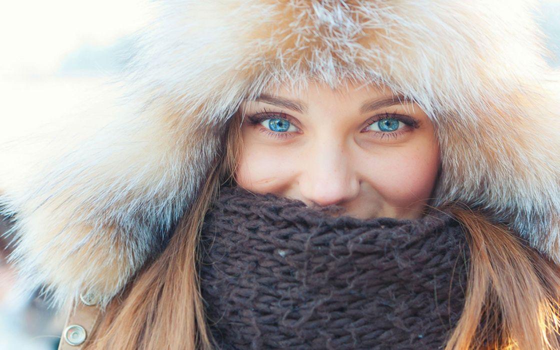 Women blue eyes scarf coat faces wallpaper