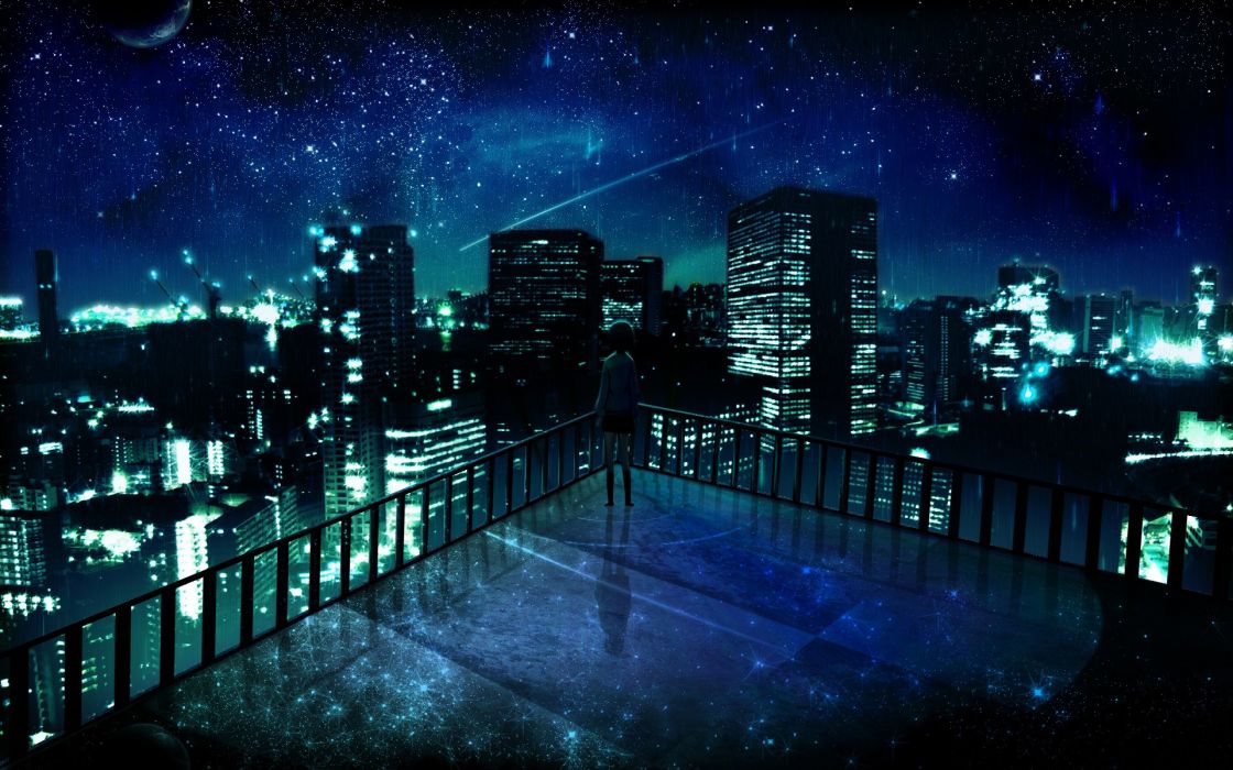 Outer space cityscapes night stars alone balcony buildings city lights artwork manga night landscapes wallpaper