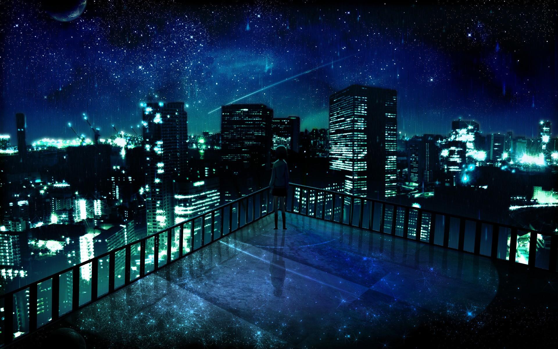 Night Alone Wallpaper Night Stars Alone Balcony