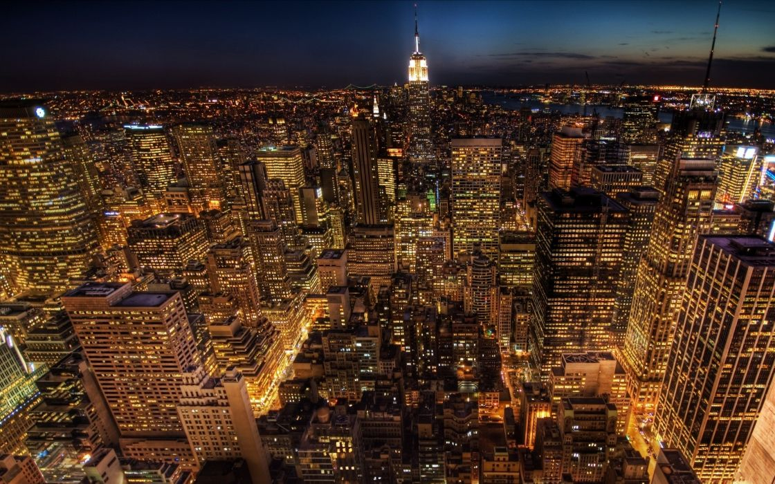 Cityscapes night buildings new york city wallpaper