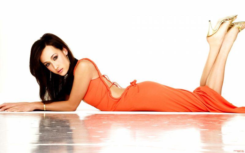 Brunettes women high heels maggie q orange dress white background wallpaper