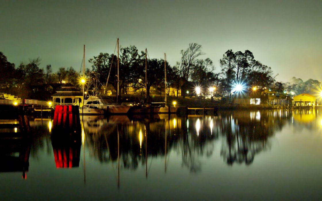 Night dock boats vehicles hdr photography wallpaper