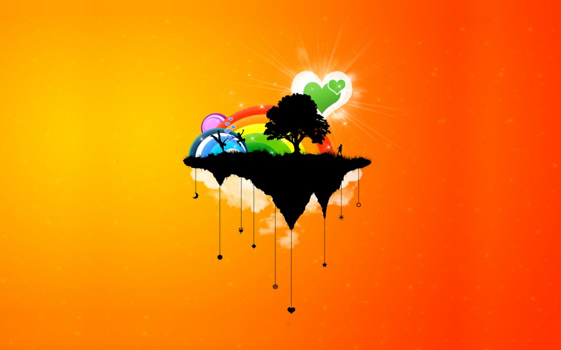 Abstract clouds trees orange rainbows wallpaper