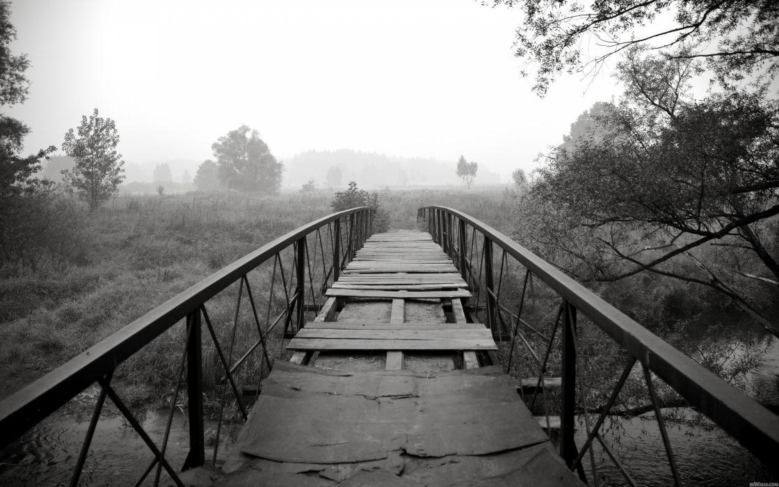 Black and white landscapes nature bridges wallpaper
