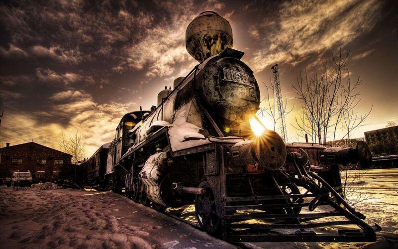 Sun trains wallpaper