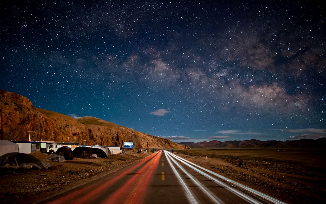 Landscapes stars roads wallpaper