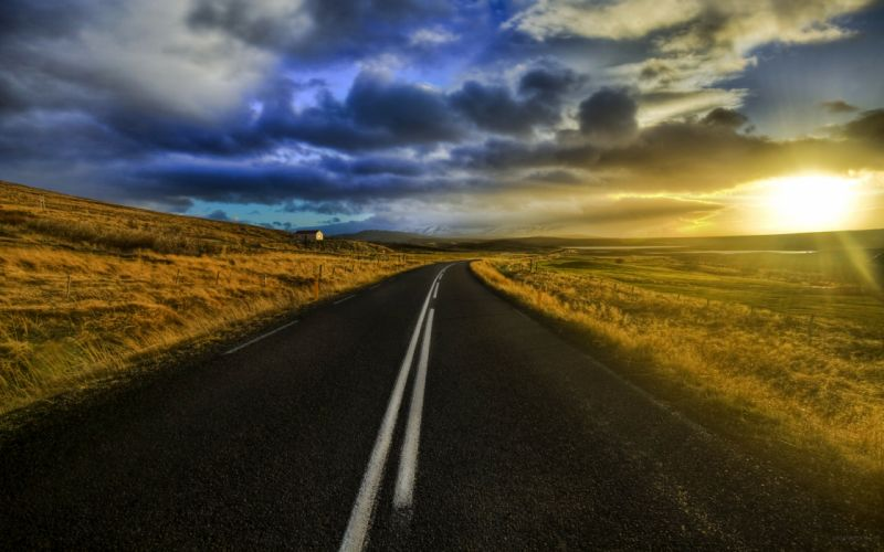 Clouds landscapes nature roads skyscapes wallpaper