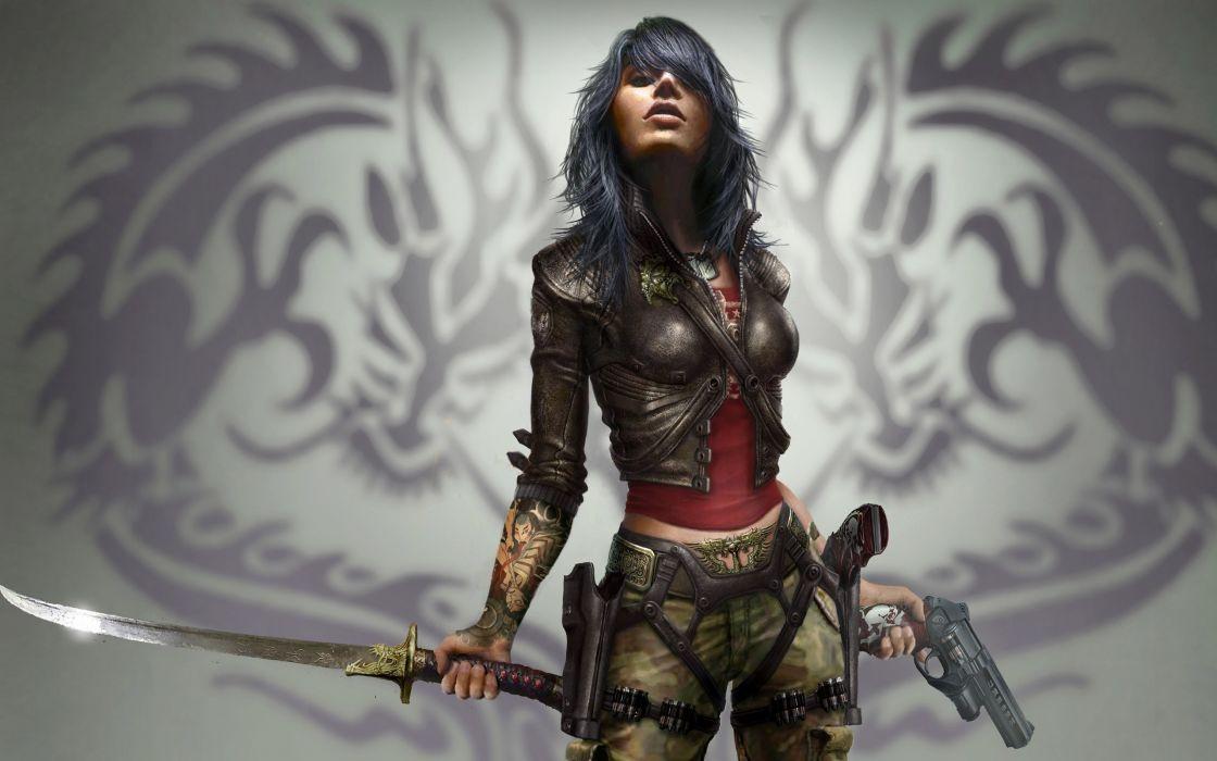 Women guns warriors wet (video game) swords black hair wallpaper