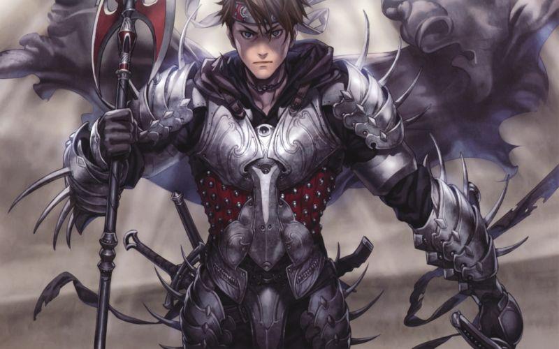 Blue eyes weapons armor artwork warriors anime boys midori foo wallpaper