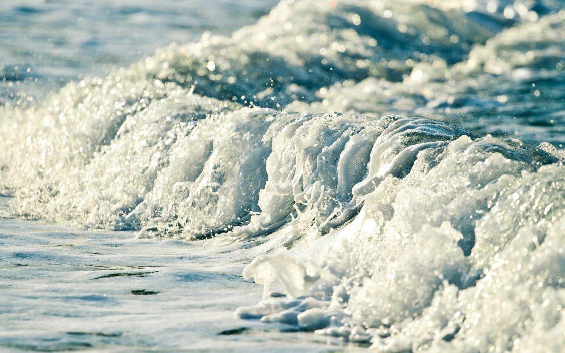 Water blue ocean sea white waves frozen foam bubbles bokeh wallpaper