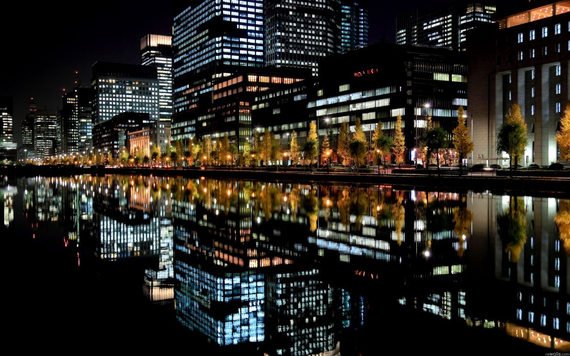 Nature night city lights rivers wallpaper